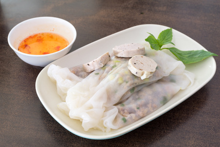 Vietnam spring roll with pork in side on table