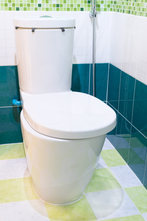 flush toilet seat with green tile in restroom photo