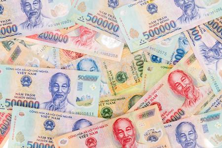 Vietnamese money, dong spread background, texture Banco de Imagens