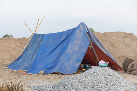 rural countryside: Tent accommodation For construction workers In rural countryside