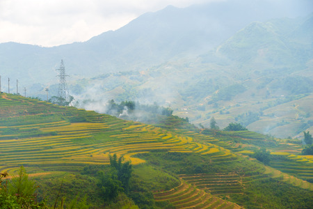 Beautiful View of mountains contain lot of terraced fields photo