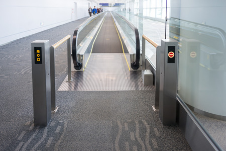 facilitate: Walkways at the airport to facilitate to passengers Stock Photo