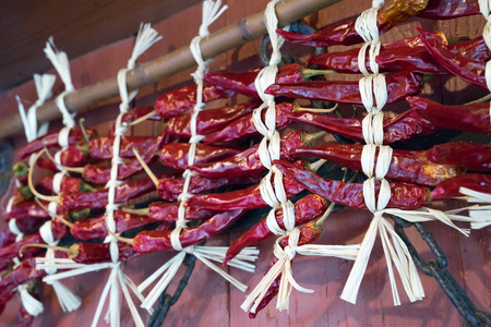 folkways: Dried chilli was tied up on a high pole, japanese folkways