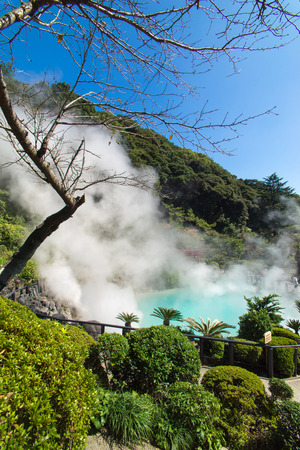 boiling: Hot Spring water boiling, Beppu, Oita, Japan Stock Photo