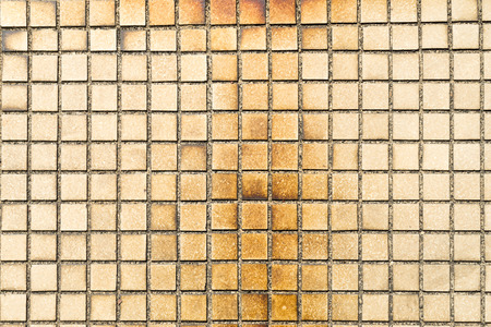 unclean: Old Little tiles which have stained unclean and abandoned Stock Photo
