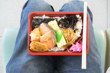 the convenient: Japanese bento convenient and ready to eat on lap