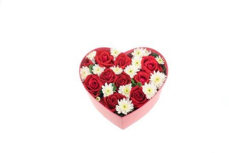 valentine s: Roses and carnations held in the heart shape box. gift for valentine s day, isolated on white background