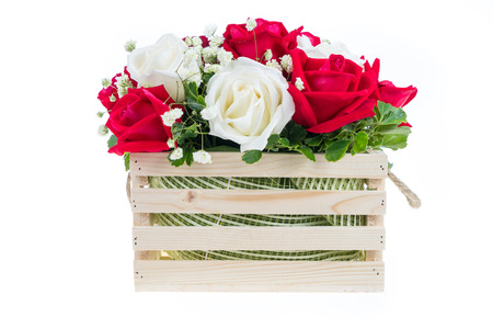 valentine s: Red and white rose in a wooden basket with beautiful ribbon, gift for valentine s day, isolated on white background Stock Photo
