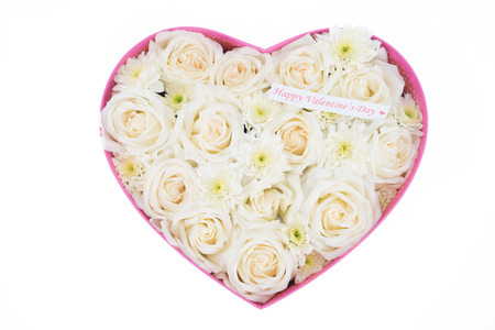 White roses and pearl and diamond held in the heart shape box with happy valentines day text label. gift for valentine s day, isolated on white background photo