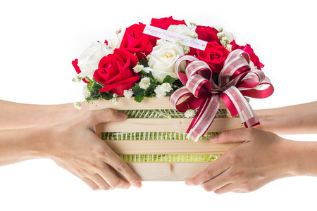 hand baskets: Hand delivers baskets of red and white rose flowers as a gift isolated on white background
