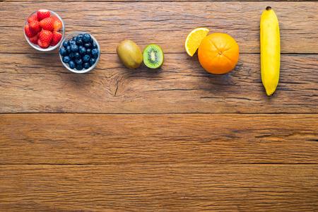 Fresh, Ripe, Various fruit, strawberry, blueberry, kiwi, orange, space for text