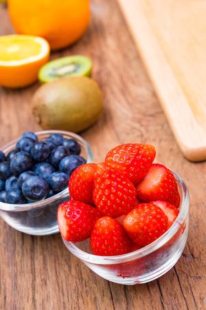 Fresh, Ripe, Various fruit, strawberry, blueberry, kiwi, orange