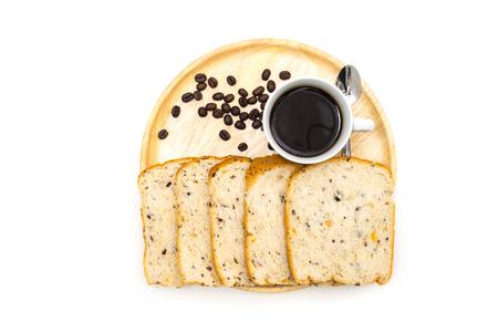 Breakfast, Breakfast set, tray of coffee, bread, Ready to eat