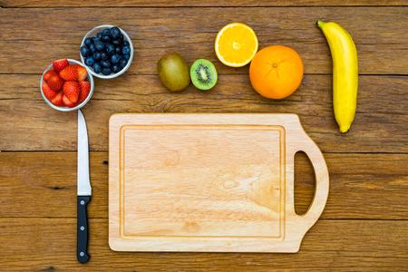 Fresh, Ripe, Various fruit, strawberry, blueberry, kiwi, orange, banana, space for text