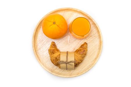 Breakfast, Breakfast set, tray of orange,croissant, fresh orange, Ready to eat Banco de Imagens