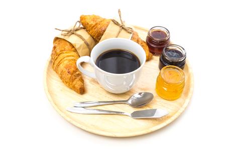 Breakfast, Breakfast set, tray of coffee, croissant, jams, Ready to eat Banco de Imagens
