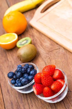 Fresh, Ripe, Various fruit, strawberry, blueberry, kiwi, orange, banana