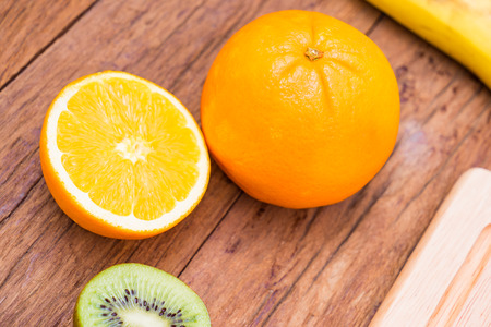 Fresh, Ripe, Various fruit, kiwi, orange, banana Banco de Imagens