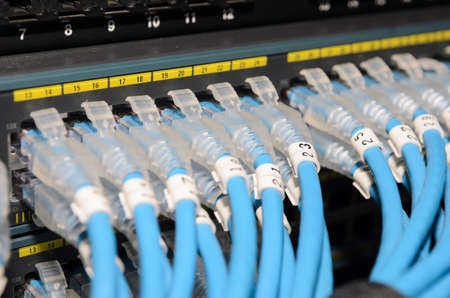 Many LAN cables connected to switch and focus on one cable Banco de Imagens - 20386569