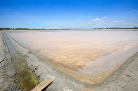 evaporation: sea pond waiting for evaporation to be salt Stock Photo