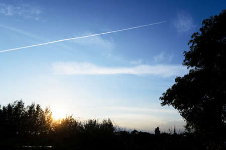 contrail: contrail on the blue sky Stock Photo