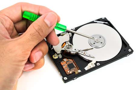 harddisk: fixing harddisk isolated on white