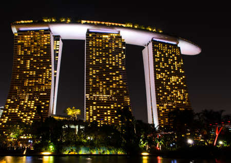 SINGAPORE - JANUARY 31: Night view at Marina bay sands January 31, 2014 in Singapore.
