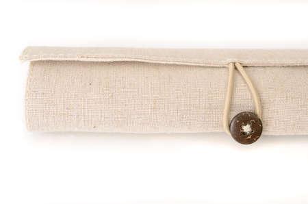 burlap bag with button