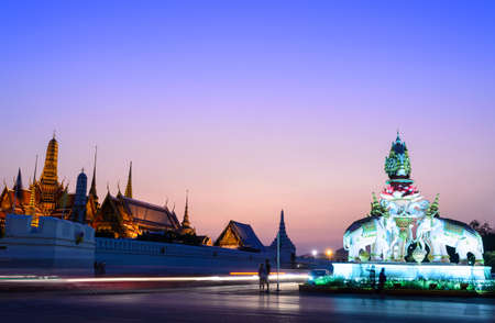 Wat phra kaeo, THAILAND - JANUARY 2, 2015: Traveler look at Golden palace in the twilight time, Na Phra Lan Road, Thailand Editorial