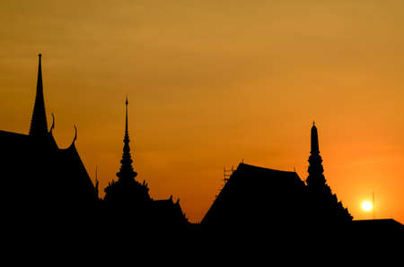 silhouette Thai grand palace on sunset time