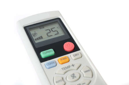 Air conditioner remote control isolated on white