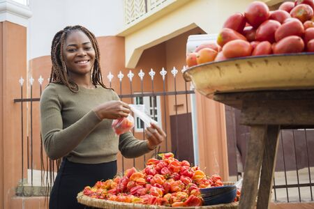 beautiful young african woman selling tomatoes and peppers in a local african market Standard-Bild