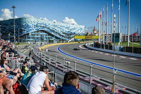 Sochi Russia september 29 ,2019 F1 Grand final Royal races grandstand spectators.