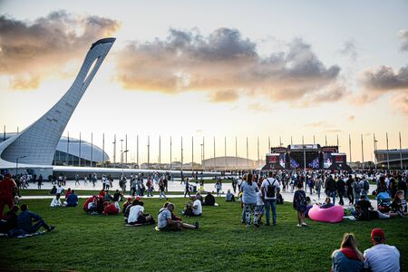 Sochi Russia September 29 2019 medal square at sunset people relax on the lawn before the final formula 1 concert. Redactioneel