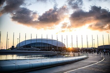 Sochi Russia 29 September 2019 ice arena puck behind the medal square at sunset. Redactioneel