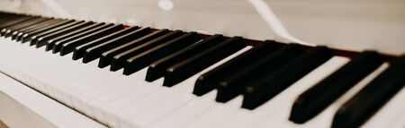perspective piano keys black and white monochrome musical instrument Foto de archivo
