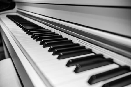 perspective piano keys black and white monochrome musical instrument. Foto de archivo - 139344023