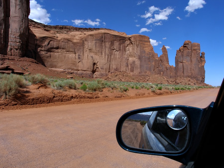 View inside of car of the rock formations in  Monument Valley Utah