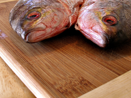 Close up shot of two red fishes on kitchen table Imagens
