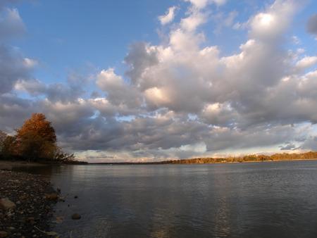landscape shot of river in autumn