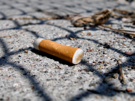 close up shot of cigarette butt on pavement Imagens