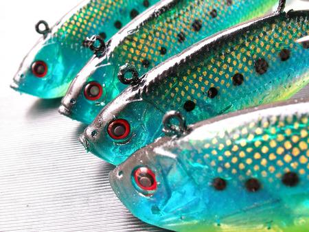 close up shot of green fish lures