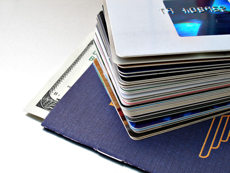 close up shot of stack of credit cards