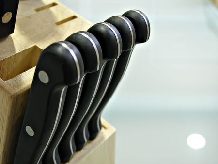 close up shot of knife handles Reklamní fotografie - 2553317