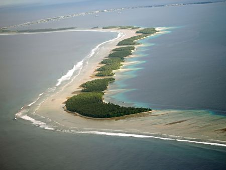 Island atoll in the middle of the pacific