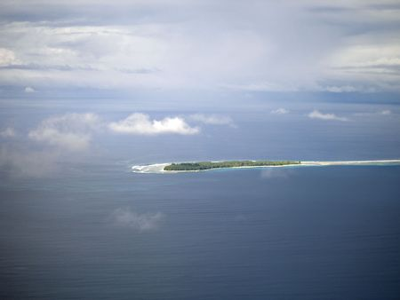 Hight shot of island atoll in the pacific