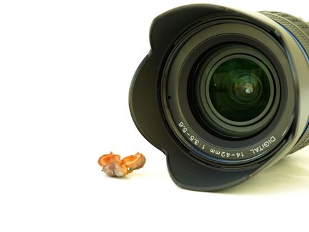 close up shot of camera lens and fruit on white background