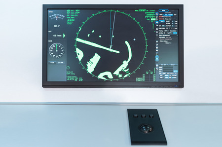 Radar panel on a boat. Maritime navigation board on a commercial shipping vessel.