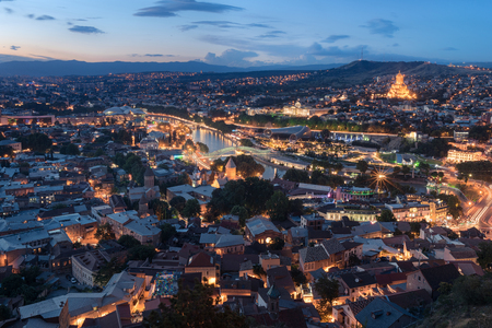 View at at the old part of Tbilisi at sunset. Night view of Tbilisi in Georgia 版權商用圖片
