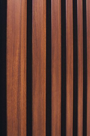 Brown vertical wooden background. Wood wall vertical line. Empty wooden board background. Stockfoto